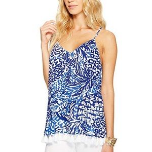 Lilly Pulitzer Nya Tank in Home Slice w/ tassels M
